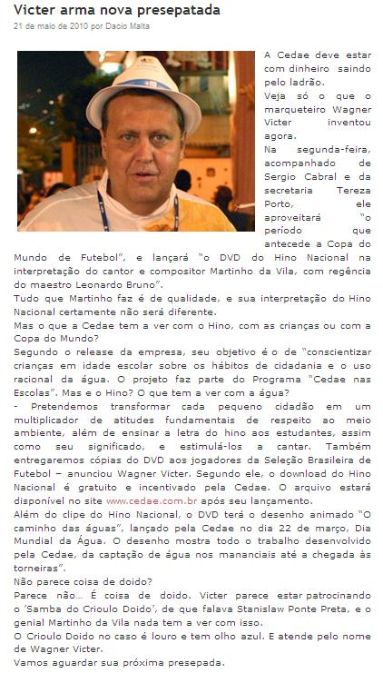 Reprodução do blog Alguém me disse, do jornalista Dácio Malta