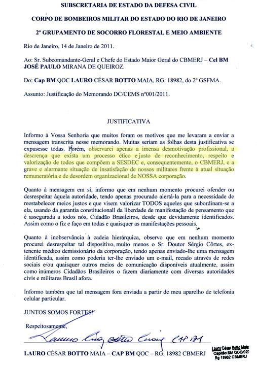 A defesa apresentada pelo capitão Lauro Botto