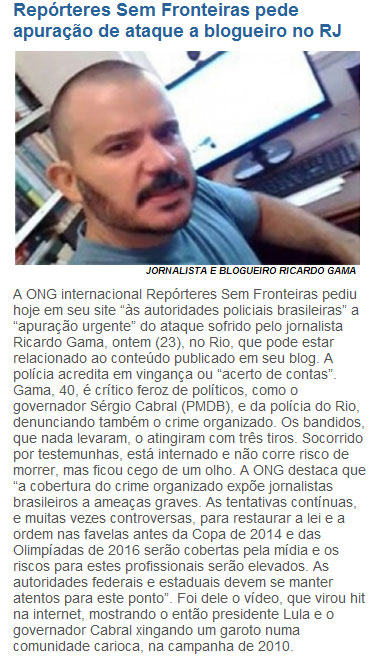 Reprodução do site do jornalista Cláudio Humberto