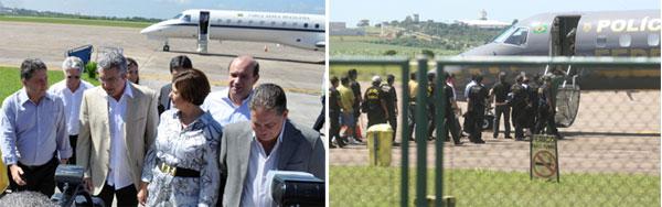 O ministro Padilha chegando de avião a Campos; ao lado, os presos da Operação Telhado de Vidro sendo levados para o avião da Polícia Federal