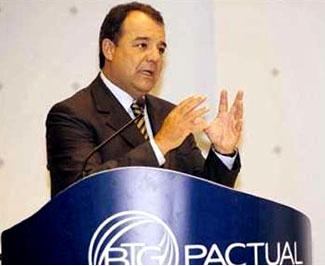 Cabral na palestra que fez para atrair mais investimentos para o Banco BTG Pactual