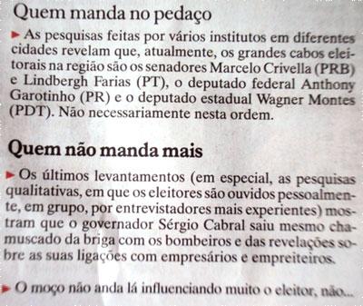 Eleitor da Baixada Fluminense rejeita Cabral (Reprodução do jornal Extra)