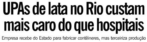 Reprodução da capa de O Globo, deste domingo