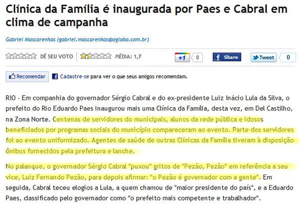 Reprodução de O Globo online