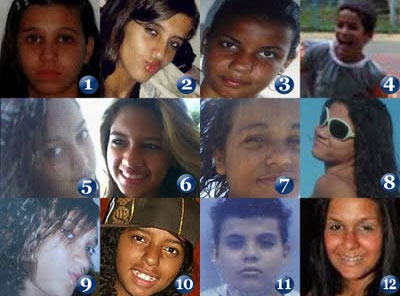 As doze crianças barbaramente assassinadas por um psicopata na Escola Tasso da Silveira, em Realengo