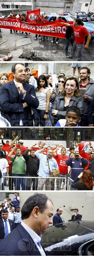 Bombeiros e profissionais de saúde protestam, enquanto Cabral debocha (Fotos da Agência Globo)