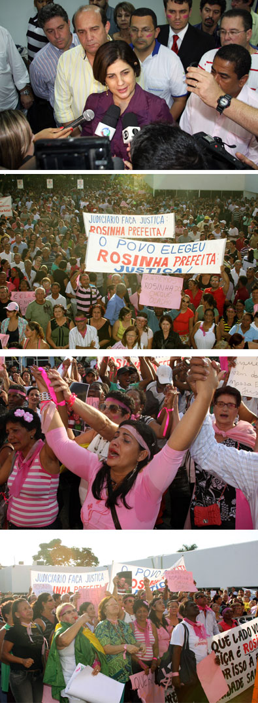 Rosinha fala à imprensa e o povo se une em apoio a ela (Fotos de Gerson Gomes)