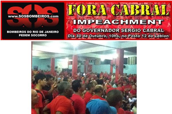 A assembléia dos bombeiros e o banner do movimento Fora Cabral