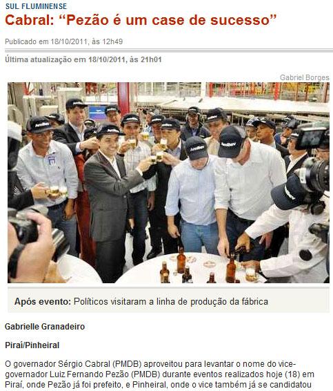 Reprodução do site do jornal Diário do Vale, de Volta Redonda