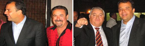 Cabral em festa com os amigos Natalino e Jerominho, chefes da milícia Liga da Justiça
