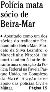 Reprodução da capa de O Globo