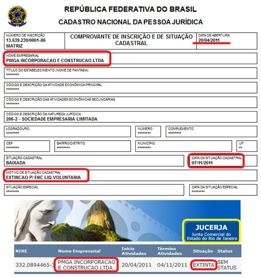 Reprodução da Junta Comercial do Rio de Janeiro