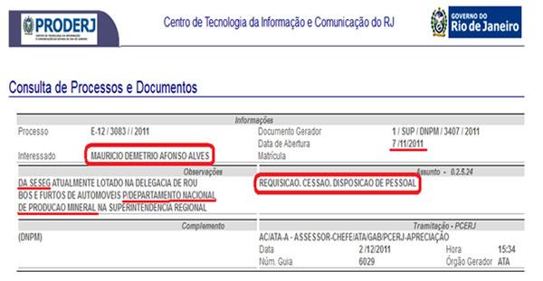 Reprodução de documento do PRODERJ