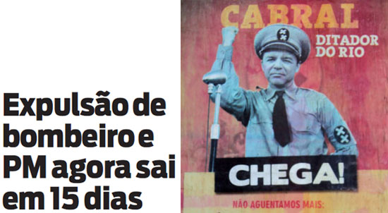 Manchete da capa de O Dia; ao lado cartaz do movimento sindical