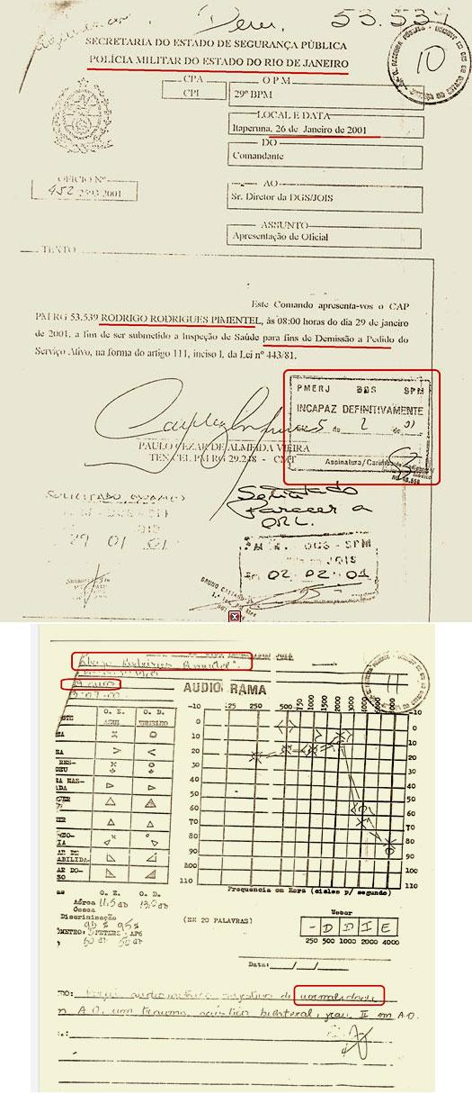Documentos oficiais da Polícia Militar