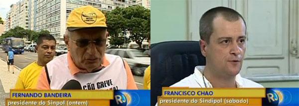 No sábado Francisco Chao anunciou que a Polícia Civil não estava mais em greve. Foi desmentido no domingo, por Fernando Bandeira, presidente de outro sindicato de policiais civis