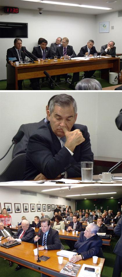 Na mesa, Garotinho, Senador Magno Malta (PR - ES); deputado João Campos (PSDB - GO); Ministro Gilberto Carvalho; deputado Paulo Freire (PR - SP), atrás o Líder do Governo na Câmara, Cândido Vaccarezza (PT - SP). Fotos de André Couto