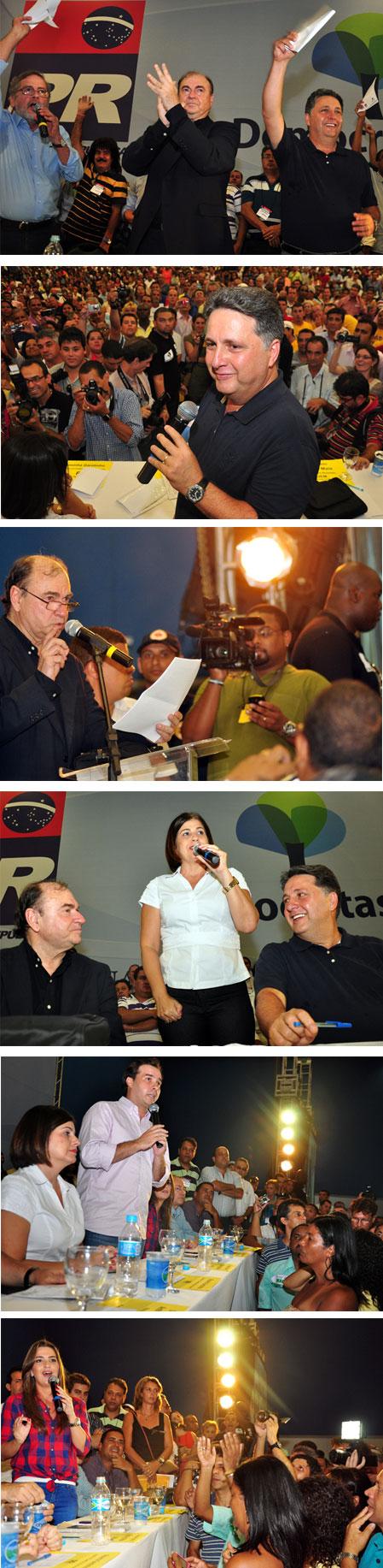 Peregrino, Garotinho, Cesar Maia, Rosinha, Rodrigo Maia e Clarissa discursam no encontro que selou a aliança PR - Democratas (Fotos de César Ferreira)