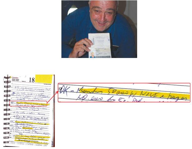 Nani exibe o seu passaporte brasileiro; e seu nome nas anotações de empréstimos da agenda de Hugo Cecílio