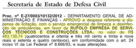 Reprodução do Diário Oficial do Estado