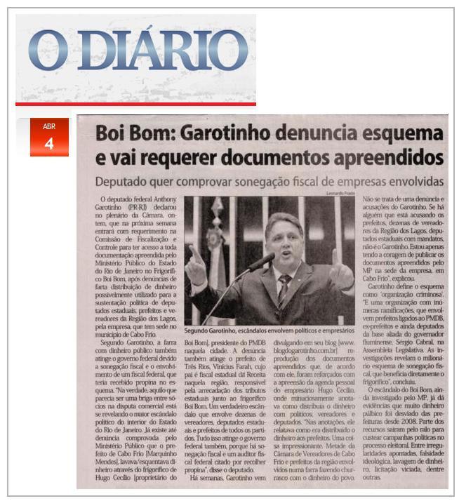 Reprodução do jornal O Diário