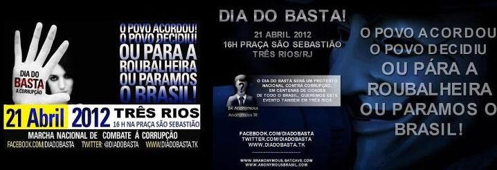 Banner do protesto da população de Três Rios