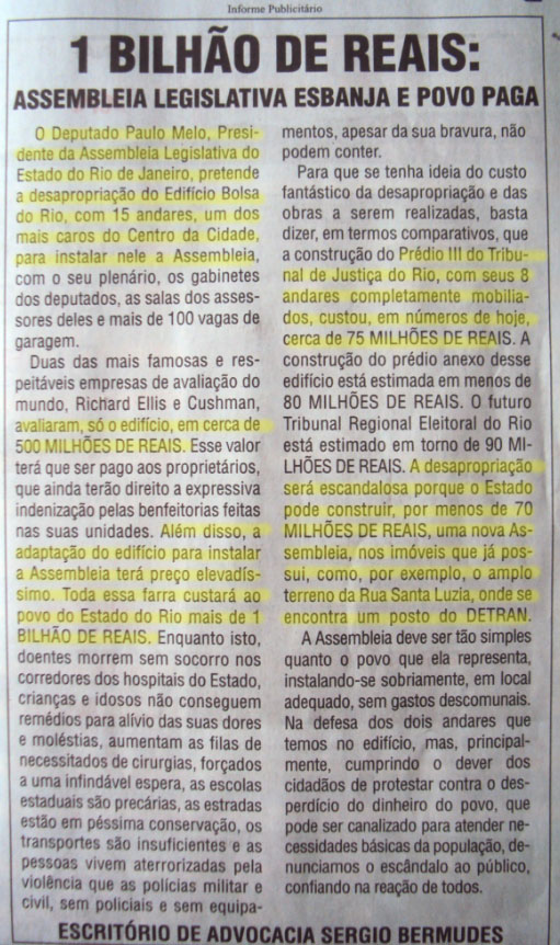 Matéria paga pelo escritório do advogado Sérgio Bermudes, publicada nos jornais O Globo e Extra, edição de sábado