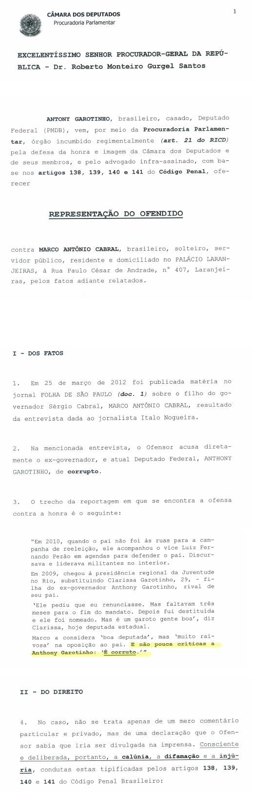 Reprodução de documento oficial