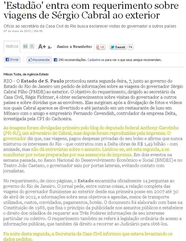 Reprodução do jornal O Estado de S. Paulo