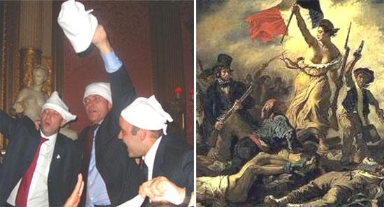 """A """"Gangue dos Guardanapos"""" (Côrtes, Cavendish e Wilson Carlos); ao lado, Marianne, símbolo nacional da França"""