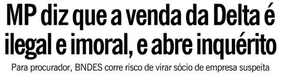Manchete da capa do Globo