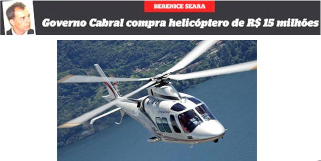 Manchete da capa do Extra; abaixo foto do helicóptero de luxo Agusta Grand News