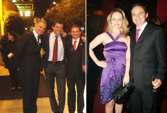 Régis Fichtner em Paris abraçado com Fernando Cavendish e Julio Lopes; ao lado tomando champanhe com a esposa Ines, sua sócia na imobiliária e que não pára de comprar farmácias