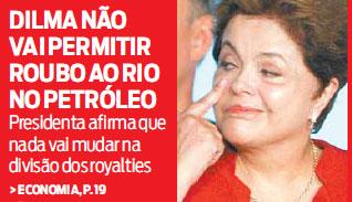 Manchete da capa do jornal O Dia