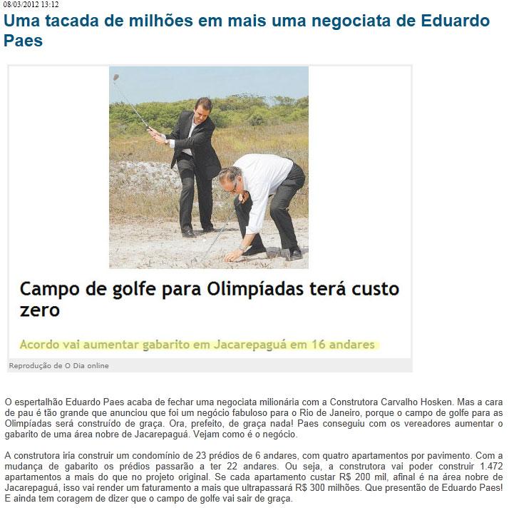 Reprodução do Blog do Garotinho (Clique na imagem para ampliar)