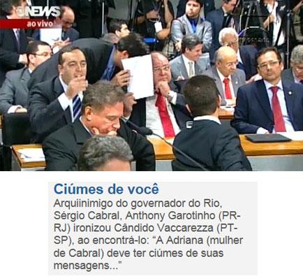 Imagem da Globo News e abaixo nota da coluna de Claudio Humberto