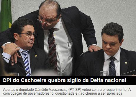 Vaccarezza argumenta com o presidente da CPI, senador Vital do Rêgo (PMDB - PB), ao lado o relator, deputado Odair Cunha (PT - MG). (Reprodução da Veja online)