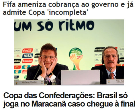 Reprodução de O Dia online; abaixo manchete do Globo Esporte
