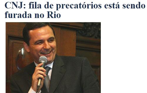 Manchete do jornal O Globo; abaixo, o secretário Régis Fichtner, o homem que comanda o golpe dos precatórios