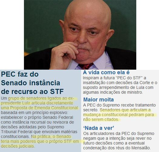 O ex-presidente Lula quer tirar o poder do STF; abaixo reprodução da coluna de Claudio Humberto