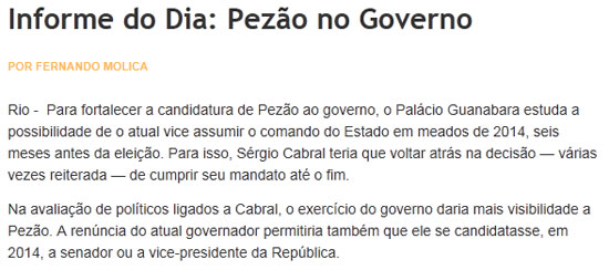 Reproduo do Informe do Dia