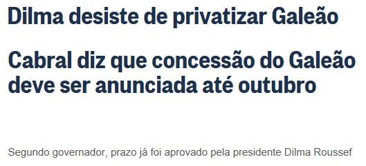 Manchetes do Globo online, de hoje (no alto) e da última sexta-feira
