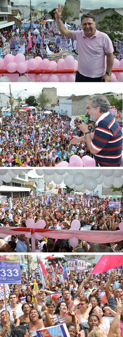 Garotinho, Fernando Peregrino e o povo de Campos no Comício da Verdade (Fotos de Gerson Gomes)