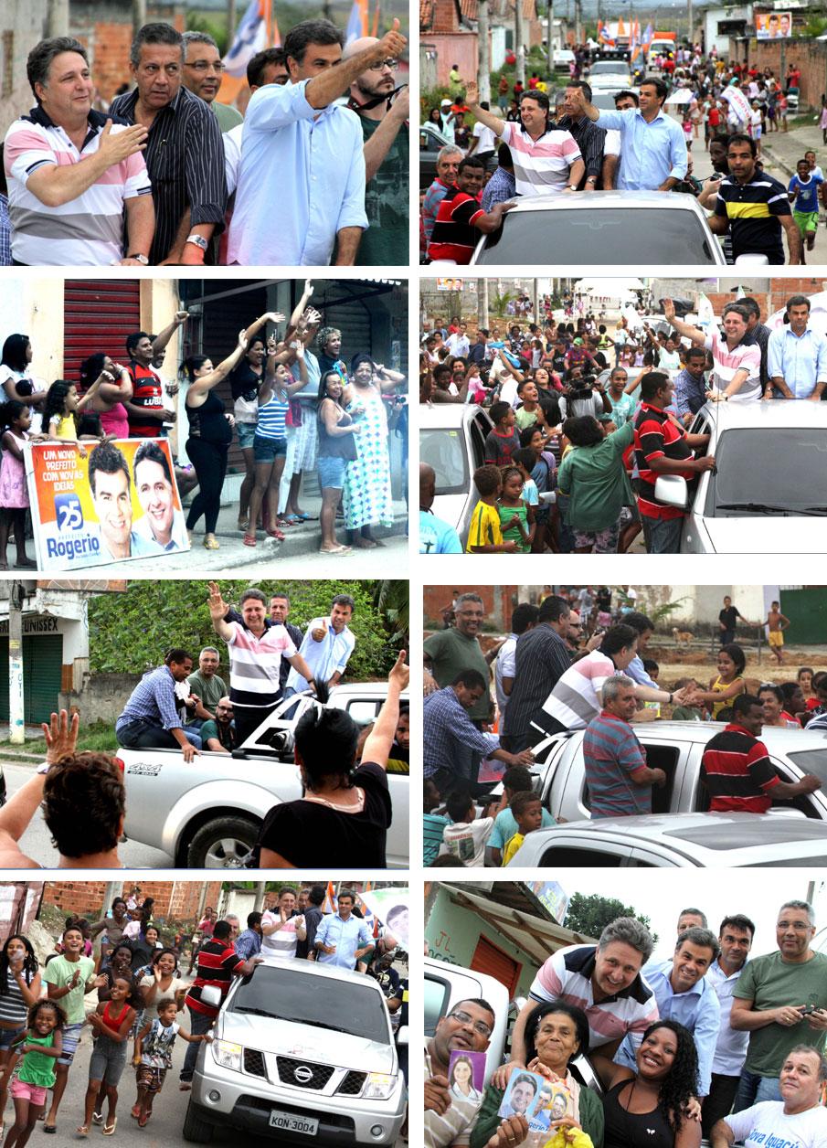 Garotinho e Rogério Lisboa em carreata no domingo em Nova Iguaçu (Clique na imagem para ampliar)