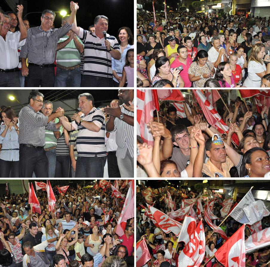 Garotinho e Davi Loureiro no comício em São Fidélis (Fotos de Gerson Gomes)
