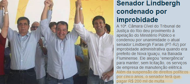 Fazendeiro Picciani, Cabral e Lindberg: juntos e misturados no mar de lama; ao lado nota da coluna de Claudio Humberto