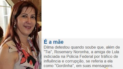 Rosemary Noronha; ao lado nota da coluna de Claudio Humberto