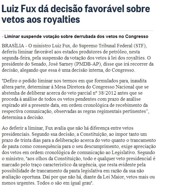 Reprodução O Globo - 17/12/2012