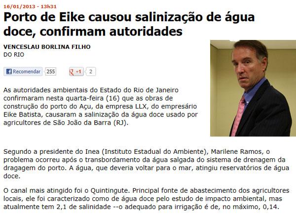 Reprodução da Folha de S. Paulo online; ao lado Eike Batista