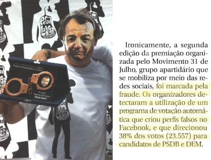 Foto da entrega simbólica do troféu a um mascarado como Cabral; ao lado reprodução do jornal O Globo
